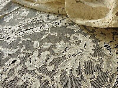 "Birds of Lavish Plumage Antique French Alencon Lace 68x106"" Tablecloth"
