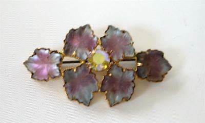 Vintage Frosted two tone Molded Glass Brooch Pin Leaves Pink Blue AB Gilt Gold