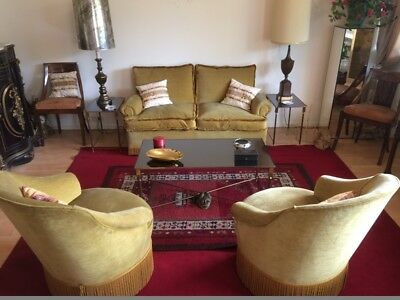 SALON 2 + 1 + 1 neoclassic Mid-Century *Vintage* as NEW! Sofa & Lounge Chairs