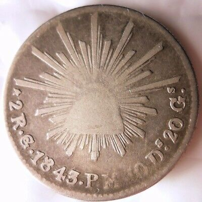 1843 MEXICO 2 REALES - HIGH QUALKTY - Very Rare Silver Coin - Lot #N12