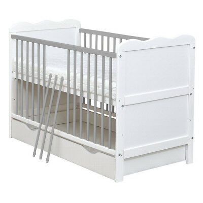 White & Grey Baby Cot Bed Cotbed Mattress, Junior Bed with Drawer