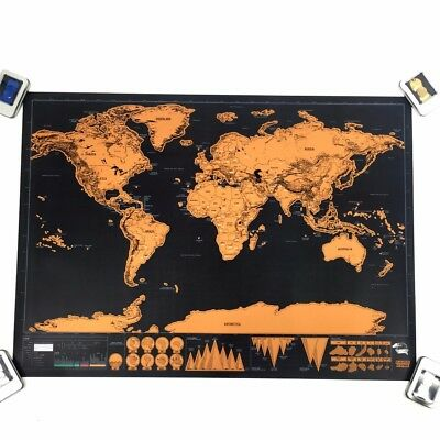 Big Deluxe Travel Edition Scratch Off World Map Poster Personal Journal Log Gift