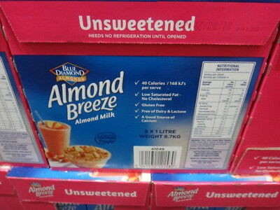 NEW Blue Diamond Almond Breeze Unsweetened Milk 8 x 1L from Fairdinks