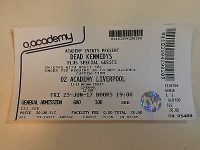 The Dead Kennedys USED GIG TICKET STUB - Liverpool Academy June 23 2017 PUNK
