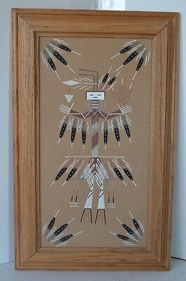 Sand Picture Yee Female Used Heal Sickness Signed Navajo Indian Native American
