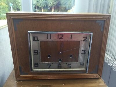 Vintage Wooden Westminster Chiming Clock, fully working with key and pendulum