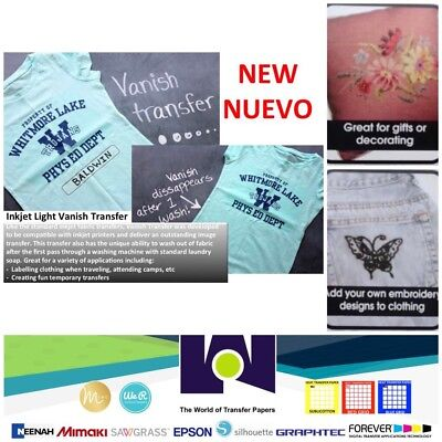 """Vanish Inkjet Transfer Paper 8.5"""" x 11"""" 50 Sheets Great For Embroidering"""