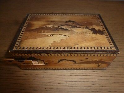 Vintage Japanese Wood Puzzle Box With Srung Secret Drawer