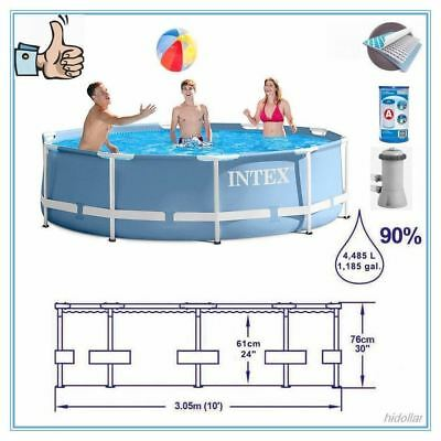"Intex 10'x30"" Prism Frame Round Above Ground Swimming Pool Pump Hose System Set"