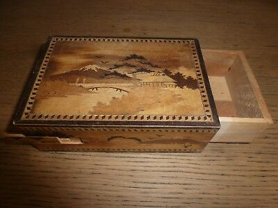 Vintage Japanese Wood Puzzle Box With Srung Secret Drawer - Need Attention