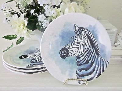 Pier 1 (4) ZEBRA HEAD LUNCH / ACCENT PLATES New