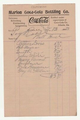 Early 1913 Marion, SC Coca-Cola Invoice Bill Receipt Bottled Under Supervision