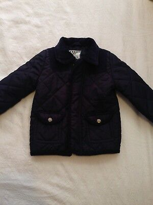 Baby Boys Age 9 - 12 Months Navy Blue Barbour Style Quilted Jacket Coat