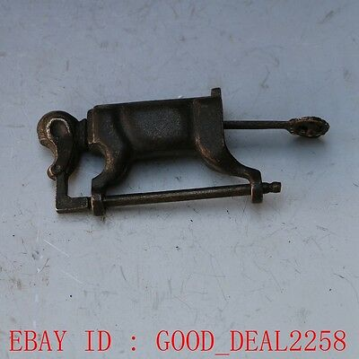 Rare collectibles Chinese old style Brass Carved Monkey lock with key gd9469