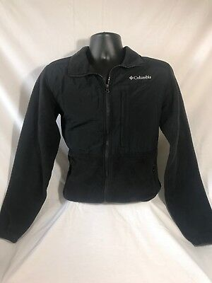 COLUMBIA mens 100% Polyester Solid Black Full-Zip Jacket size S EUC