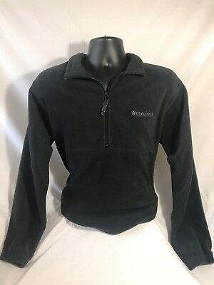 COLUMBIA mens 100% Polyester Solid Black Full-Zip Jacket size L EUC