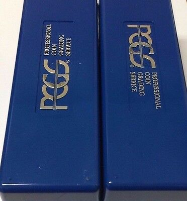 Two (2) Used Empty CLEAN PCGS Plastic Storage Box ~ Blue ~ Holds 20 PCGS Slabs