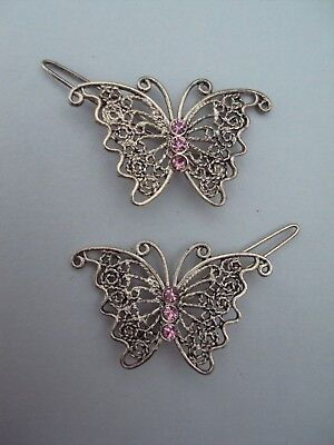 Vtg Ornate Silver T Wirework Purple Rhinestone Butterfly Hair Clip Barrette Set