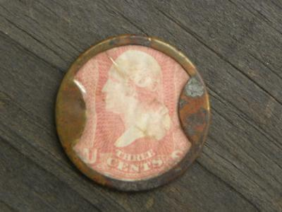 TAKE AYER'S PILLS Encased 3 Cent Stamp & Brass Coin pat Aug 12 1862 J. Gault