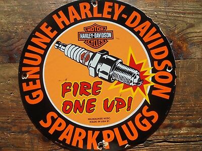 Genuine Harley Davidson Fire One Up Spark Plugs porcelain sign Milwaukee Wisc 61