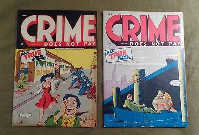 Crime Does Not Pay #'s 36 & 39--Creepy Biro Covers--Violent--Gv Of $400--Sale Ob