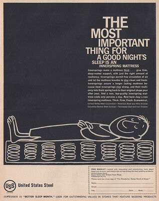 1961 United States Steel: Important Thing for a Good Night Vintage Print Ad