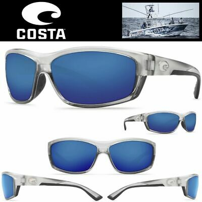 4088a105fb9 COSTA DEL MAR SUNGLASSES SALTBREAK SILVER Frame Blue Mirror 400 Glass Lenses