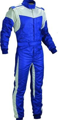 FIREPROOF / Flame Retardant GO Kart-Autograss Bangers Mechanics Suit-Blue-White