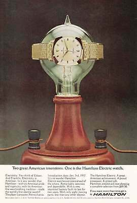 1965 Hamilton Electric Watch: Two Great American Inventions Vintage Print Ad