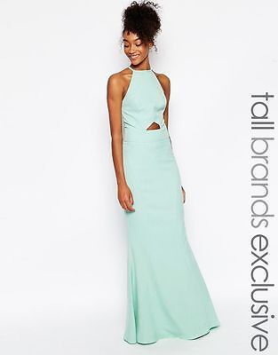 Jarlo Tall Elenora Cut Out Halter Neck Maxi Dress UK 16/EU 44/US 12          zz3