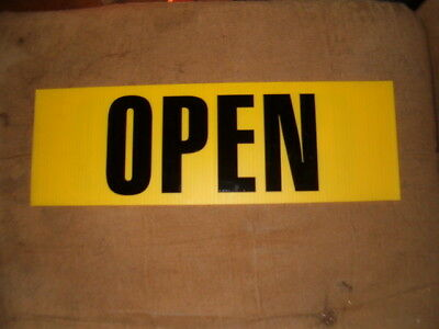 "Large Yellow Coroplast Sign with OPEN/CLOSED on both sides 6"" x 18""."