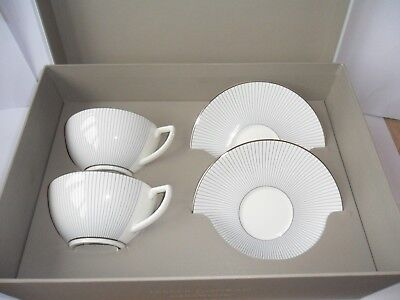 Wedgwood Jasper Conran boxed pair of Teacups & Saucers in the Pin Stripe Design