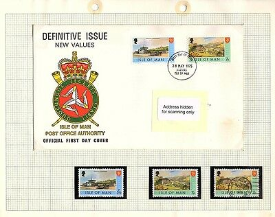 Isle of Man Stamps - FDC & Mint set of 2 1975 Definitive Issue SG22 & 24