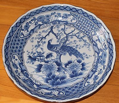 Huge Blue & White Chinese /Japanese Porcelain Charger Plate Shallow Bowl Peacock
