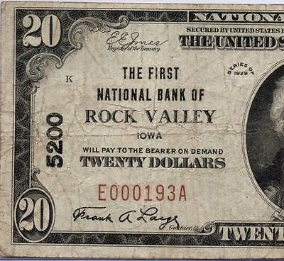 Rock Valley, IA - $20 1929 Ty. 1 The First NB Ch. # 5200