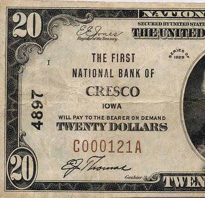 Cresco, IA - $20 1929 Ty. 1 The First NB Ch. # 4897