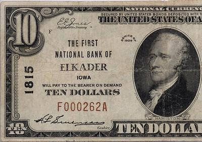 Elkader, IA - $10 1929 Ty. 1 The First NB Ch. # 1815