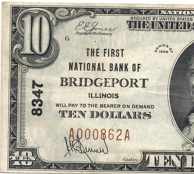Bridgeport, IL - $10 1929 Ty. 1 The First NB Ch. # 8347