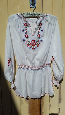 1970s Vintage Hand Embroidered Blouse size 36 or 10