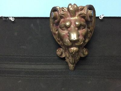 Lion Head Sculpture Wall Plaque Antique Bronze Finish Solid Brass & Cast Stone