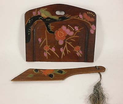 Vintage JAPANESE Hand Painted Carved Wood Bird Floral MIJ Crumb Tray