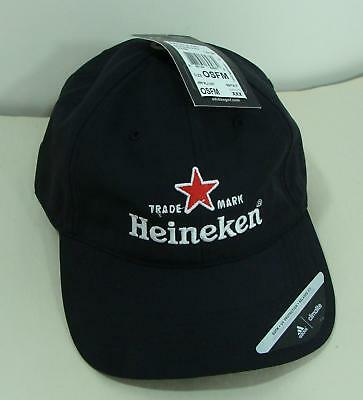 Nwt Heineken Adidas Black Adjustable Cap Hat Climalite Uv Protection Relaxed Fit