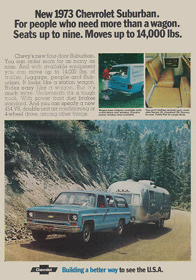 1973 Chevrolet Suburban, Airstream: Need More Than a Wagon Vintage Print Ad