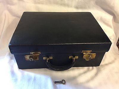 Vtg ART DECO 1930's Dk Blue Leather Toiletry Kit Travel With Key