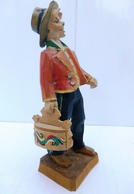 Norwegian HENNING CARVING - TELEMARK BOY WITH TINE BOX - SIGNED - Norway