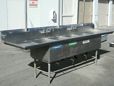 11 ft Stainless Steel 4 Bay/Compartment Commercial Kitchen/Restaurant Sink
