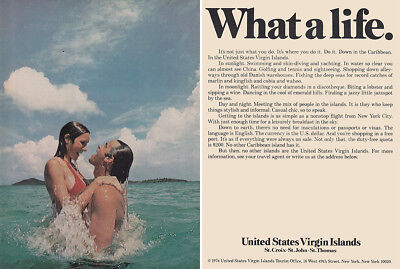 1975 United States Virgin Islands: What a Life Vintage Print Ad