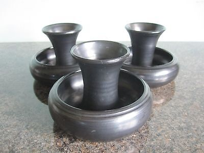 Prinknash Pottery - Posy Vase / Candle Holder - Metallic Black Glaze - Set of 3