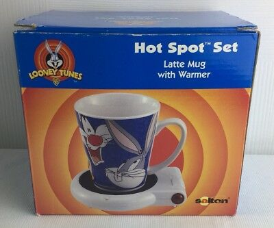Loney Tunes Hot Spot Set Latte Mug with Warmer Bugs Bunny and Sylvester Cat