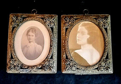 Antique Victorian Picture Frame Set Pair Brass Filigree Original Photos 3x4""